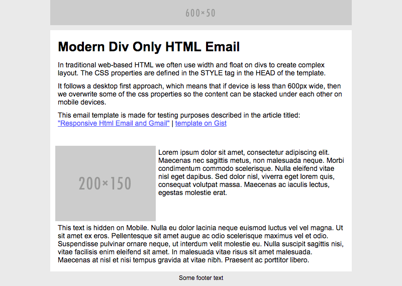 The end results in the tests should look like this on desktop and web based email clients