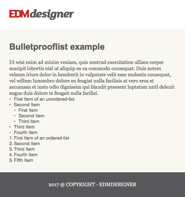 Email preview of HTML list with Bulletproof code