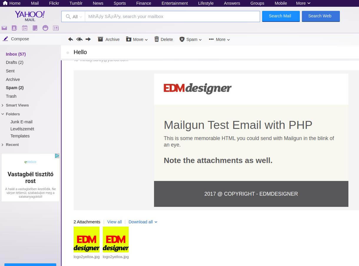Email delivered by Mailgun